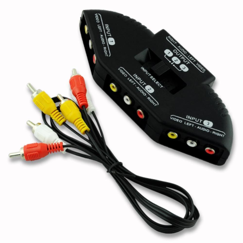 High Quality Selector 3 Ports Video Switcher Game AV Signal Switch Cable AV RCA AV Splitter Audio Converter for XBOX for PS TV(China (Mainland))