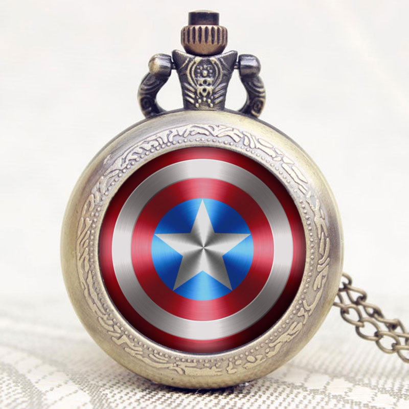 New Marvel Comics Captain America Shield Weapon The First Avenger Steve Rogers Pendant Necklace Pocket Watches Birthday Gift(China (Mainland))