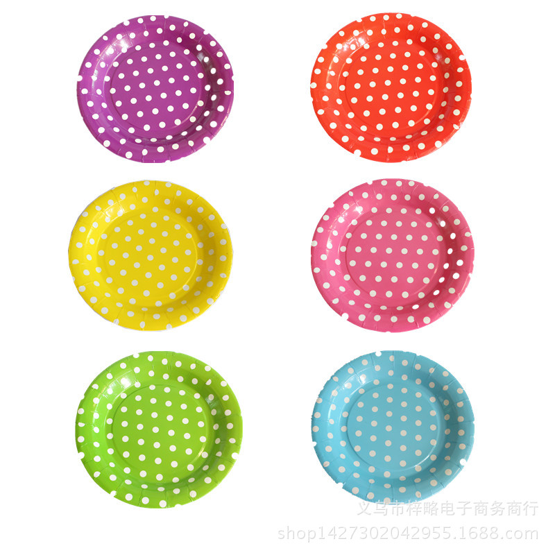 Lovely 7inch colorful dots wave point disposable paper plates party tray Valentine Birthday Wedding Tableware cake barbecue(China (Mainland))
