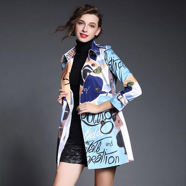 Буквы пальто тренч осень весна 2016 мода новая взлетно-посадочная полоса с отложным ...