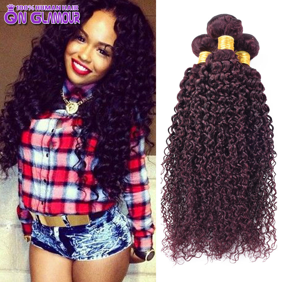Queen Glamour 7A 99j Red Brazilian Kinky Curly Virgin Hair 1 Bundle Burgundy Brazilian Hair Weave Bundles Curly Hair Extensions(China (Mainland))