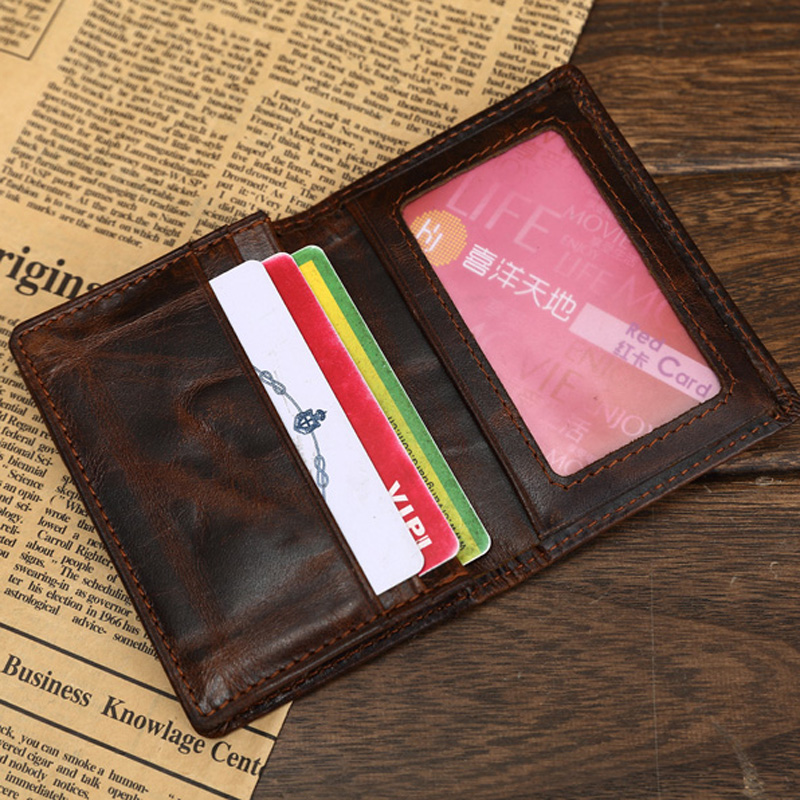 Italian Genuine Leather Credit Card Holder Oil waxed