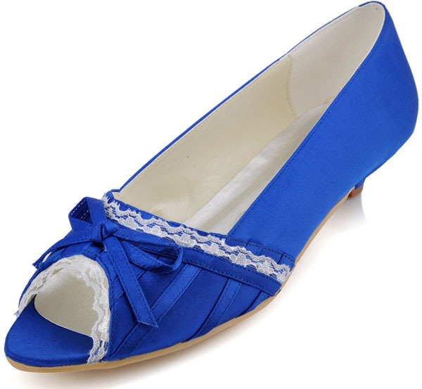Big Sizes Royal Blue Women 39 S Wedding Shoes Low Heels Evening Party Pumps