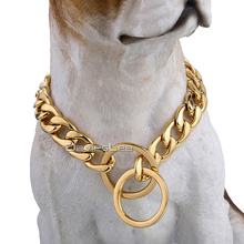 "Buy 13mm Gold Color Silver Tone Curb Link 316L Stainless Steel Dog Chain Pet Collar Customize Size 12-30"" Wholesale Jewelry LDC11 for $7.21 in AliExpress store"