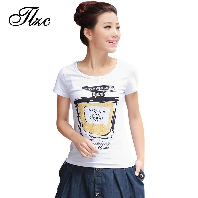 TLZC 2017 Summer Lady Casual T-Shirts Big Size M-3XL Perfume Printing O-Neck Style Women Cotton Tees White Color Clothing(China (Mainland))