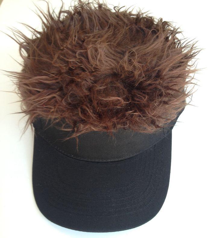 Здесь можно купить  30 pcs/lot Fashion Novelty Baseball Cap Fake Flair Hair Sun Black Visor Hat Man