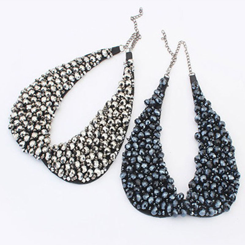 Fashion Strand Beads Cluster Bib Collar Pendant Hot Gift Silver Plated Elegant Necklace Free Shipping(China (Mainland))