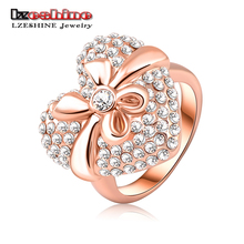 Romantic Love Gift Heart Shape Crystal Rings Trendy Real 18K Rose Gold Plated Women Finger Ring Jewelry 19*18mm Ri-HQ0007-b(China (Mainland))
