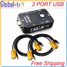 2 PORT USB KVM VGA/SVGA SWITCH BOX +CABLES FOR PC MOUSE KEYBOARD MONITOR KYB VID(China (Mainland))