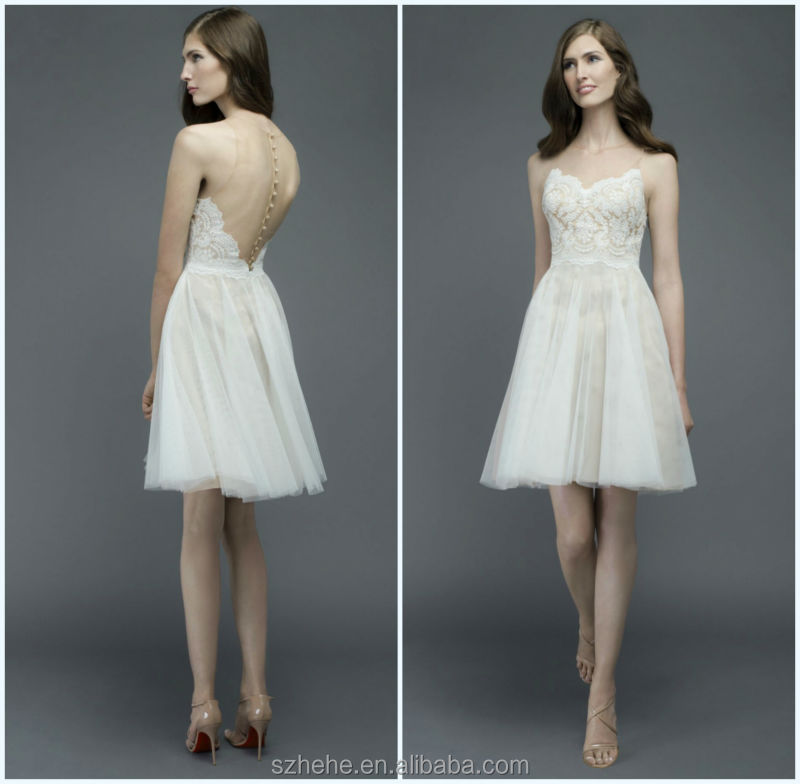 Jm bridals cw3199 summer lace and tulle bare back casual for Casual short wedding dresses for summer