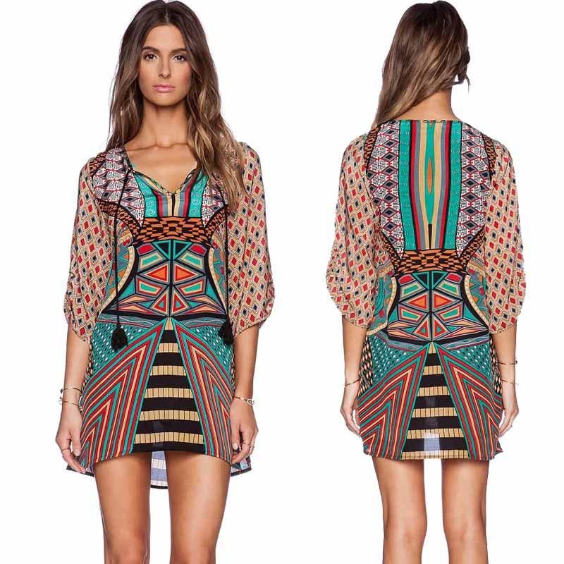 2015 Amazing! Women Vintage Print Loose Summer Dress Vestido 3/4 Sleeves Geometric Pattern(China (Mainland))