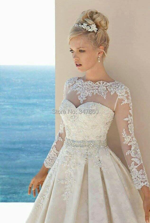 Buy g12191 2015 boat neck a line long for Boat neck long sleeve wedding dress