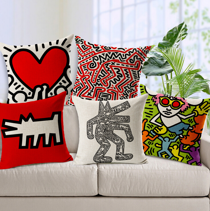 Keith Haring painting decorative pillow cojines decorativos linen cushion modern creative coussin almofadas vintage