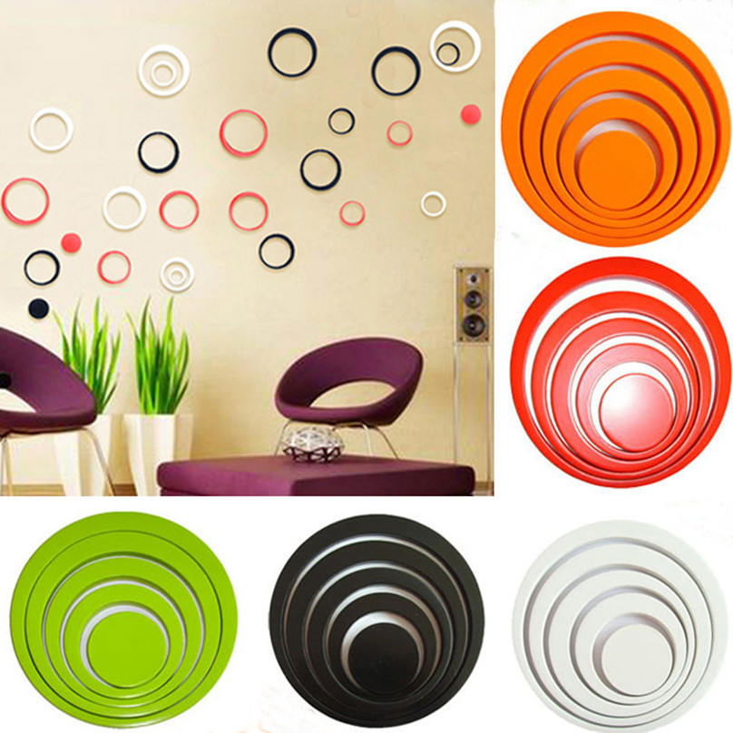 2016 New Design Excellent 1 Set Indoors Decoration Circles Creative Stereo Removable 3D DIY Wall Stickers Free Shipping(China (Mainland))