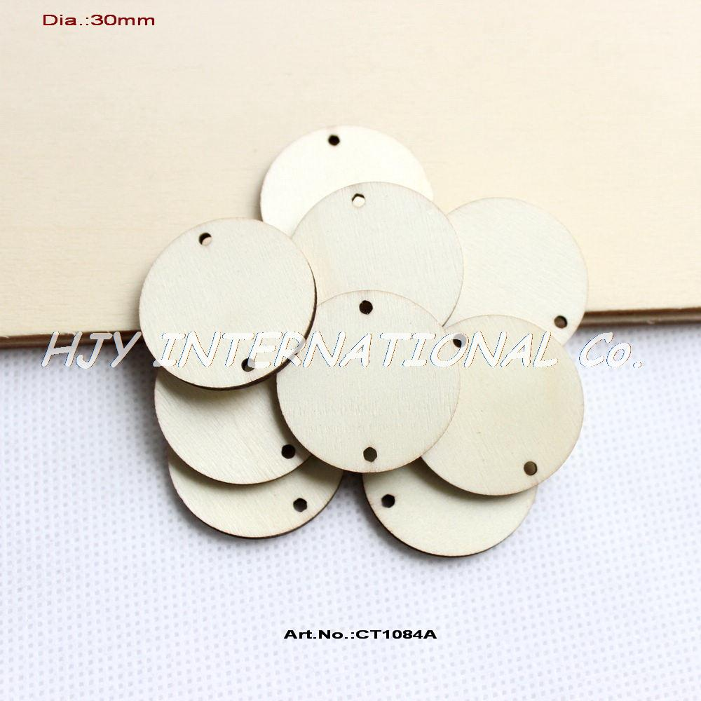 """(150pcs/lot) 2 holes hanging unfinished round circle wooden disks supplies cut outs wood crafts 1 1/4""""-CT1084A(China (Mainland))"""