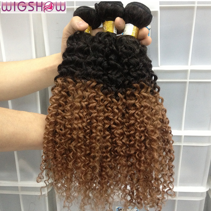 5A SunnyQueen Hair Brazilian Kinky Curly Virgin Hair Ombre Hair Extensions Brazilian Ombre Curly Hair Weaves Two Tone 1b/30#