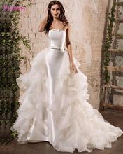 Najowpjg 2017 New Design Gorgeous Ruffles White Mermaid Wedding Dresses Sexy Strapless Vestido Fashion Bow Bridal Gown Plus Size(China (Mainland))