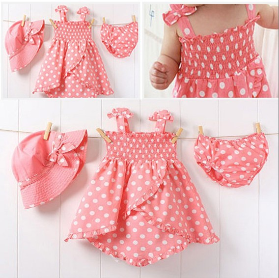 Baby girl clothing set 3pcs set pink color dot casual dress + hat + knickers suit infant sets summer baby girls outfits(China (Mainland))
