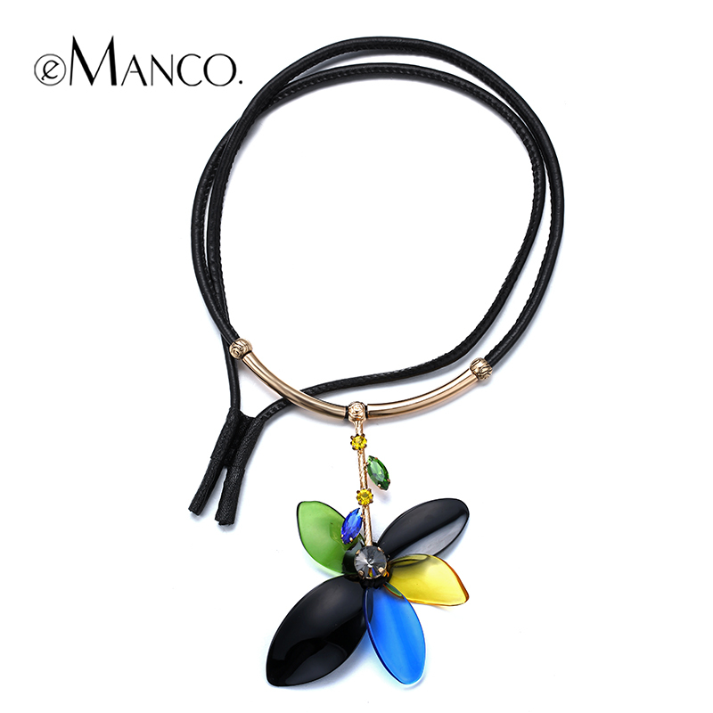 Green flower acrylic leather necklace crystal pendant statement necklace fashion jewelry for women 2015 new emanco NL00009(China (Mainland))