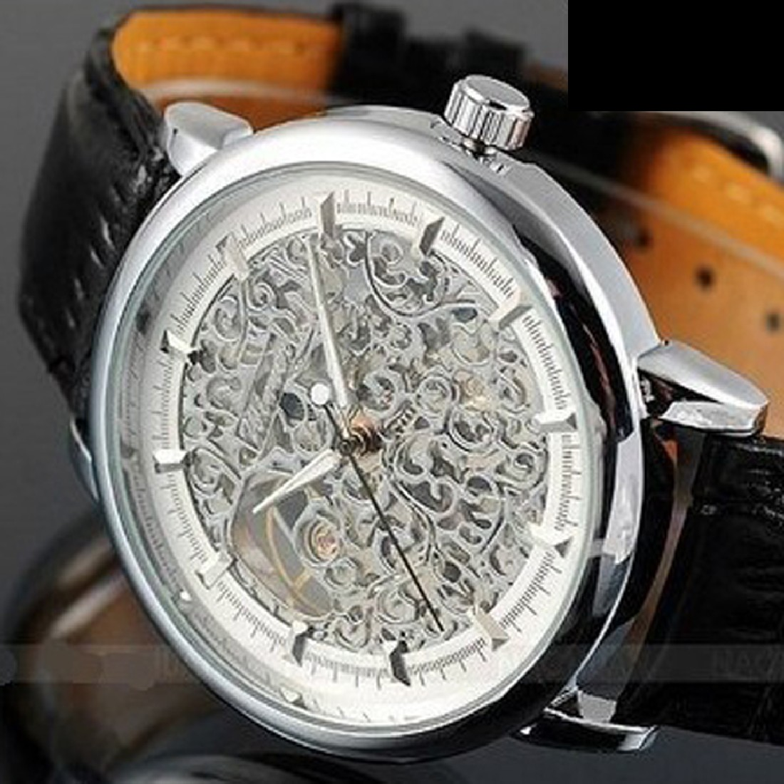 brand new Retro Special Skeleton Design Mechanical Men'S Sport Watch Leather Strap(China (Mainland))