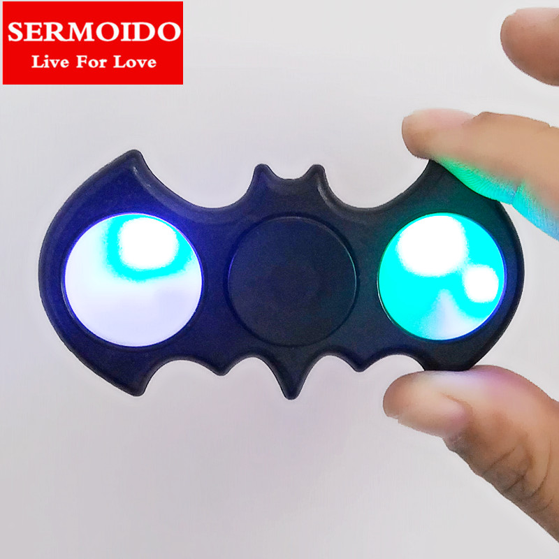 SERMOIDO LED Fidget Spinner Black Batman EDC Captain Hand Spinners Finger Spinner Relieve Stress Austism Handspinner Toys A94