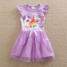 Buy PF New girl children wear short-sleeved dress summer pony bao li round collar lace printing tutu girls cotton a-line dress SD669 for $30.38 in AliExpress store