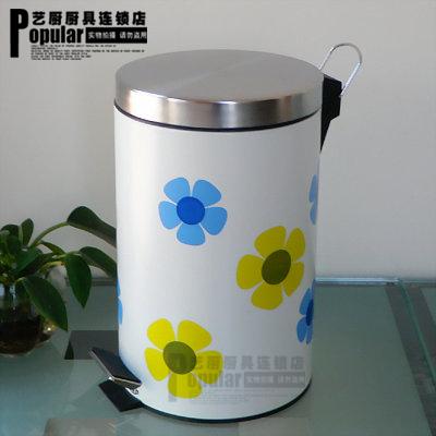 Quality luxury 12l water transfer printing stainless steel rubbish bucket kitchen trash bucket garbage bucket