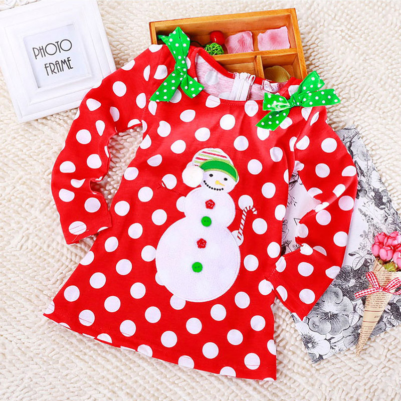 Wholesale Cute Toddler Dresses Long Sleeve Red Color Dot Print Baby Christmas Dress Kids Girls Fall Dresses(China (Mainland))
