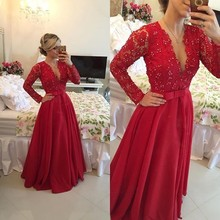 New Design Red A Line Evening Dresses Deep V Neck Full Sleeve With Lace Long Floor-Length Chiffon Formal Evening Gown 2016 New(China (Mainland))