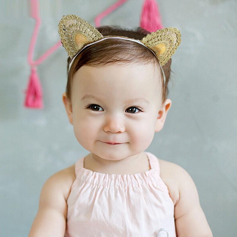 AHO200(10), Infant Gold Crochet Kitty Cat Ear Headband Cartoon Baby Princess Head Wear Knitted Kids Headband Accessory(China (Mainland))