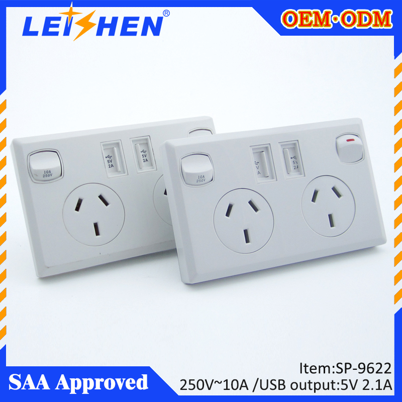 USB-Socket sp-9622 10-Amp AC australia SAA Standard Wall Duplex Outlet with Built-in USB Charger Ports, white color<br><br>Aliexpress