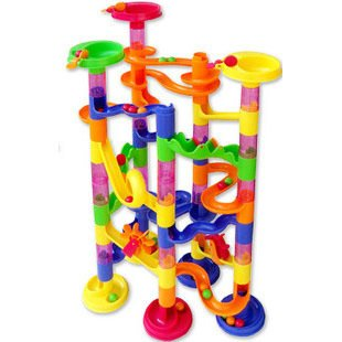 Children's block track ball toys building blocks 74PCS DIY maze a marble-run construction system race deluxe free(China (Mainland))