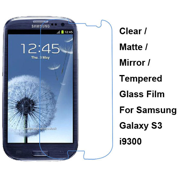 For Samsung Galaxy S3 SIII S 3 III i9300 Tempered Glass / Clear / Matte / Mirror Screen Protective Protector Film Guard Shield(China (Mainland))