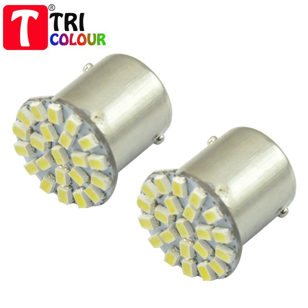 TRICOLOUR 10pcs Car Marker Lamps P21W P21/5W 22 LED SMD1206 DC 12V White Blue Red Yellow Free shipping #LF01(China (Mainland))