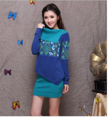 2015 Women Top And Skirt Set Pullovers Sweater Bodycon Skirt Clothing Set Irregular Style Turn-down Knitwear Vintage Knit Suit
