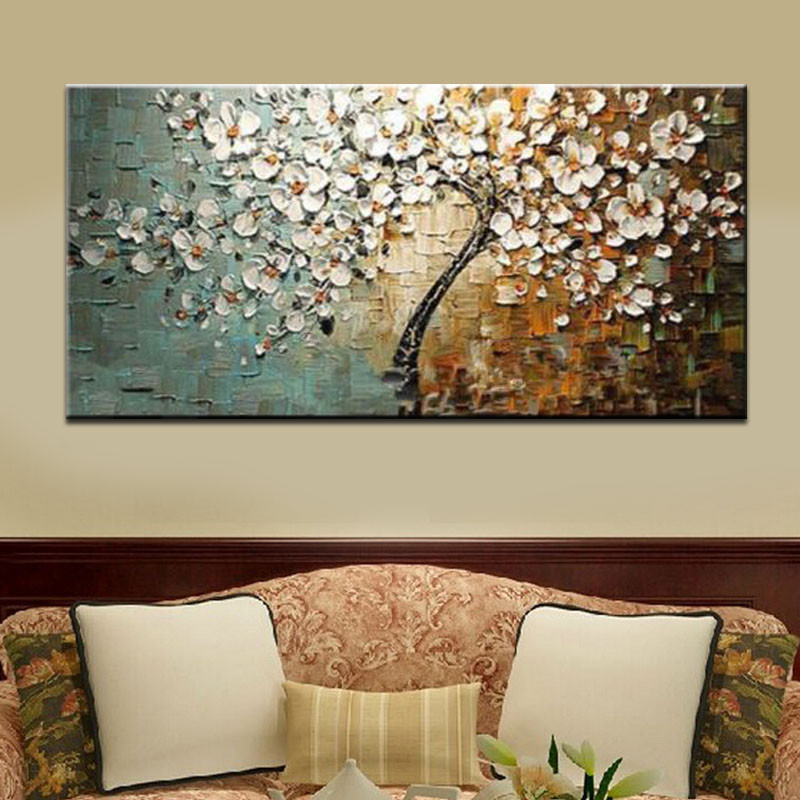 Buy Unframed Handpainted Flower Tree Palette Thick Knife Oil Painting On Canvas Home Wall Decor For Living Room Artwork cheap