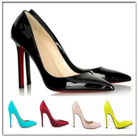 Red Bottom Sexy 5 colors High Heels basic Leather Women Pumps Pointed Toe Brand High Heels Red Sole Shoes 2015 Ladies black(China (Mainland))