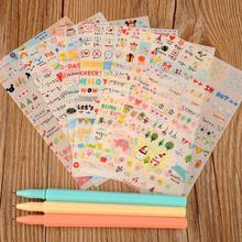 6 Sheets Lovely Korean Notebook Album Calendar Memo Message Diary Notes Memo Deco Paper Sticker Free Shipping(China (Mainland))