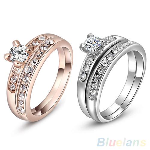 2Pcs Set Women s 9K Gold Plated Rhinestone Alloy Wedding Party Multiple Rings 4RAI