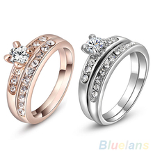 2Pcs/Set Women's 9K Gold Plated Rhinestone Alloy Wedding Party Multiple Rings