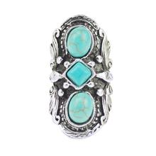 2015 Vintage Bohemian Turquoise Ring For Women Antique Silver Alloy Carving Ring Fashion Jewelry 42*21MM