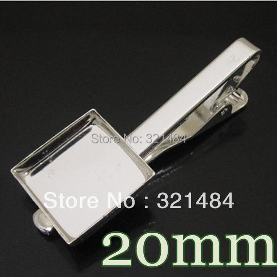 200piece Silver plated Men's Tie Clip Blank Base Cufflinks Sqaure 20mm bezel setting Wholesale