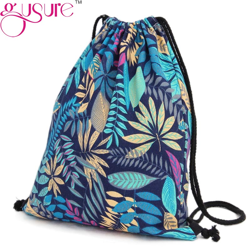 Summer Women Drawstring Backpack Leaf Pattern String Shoulder Bags Rucksack Sack Bag Student Vintage School bag Mochila(China (Mainland))