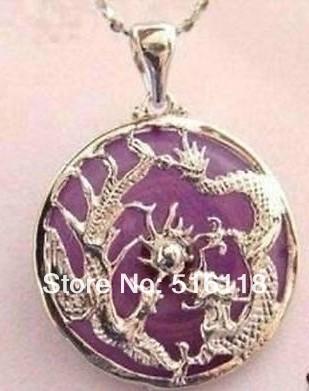 Exquisite Nice violet jade dragon phoenix pendant necklace(China (Mainland))