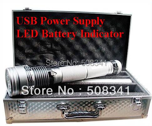 Free shipping 85W 8500 Lumens HID Flashlight Lamp Xenon Torch with 9300mah battery(China (Mainland))