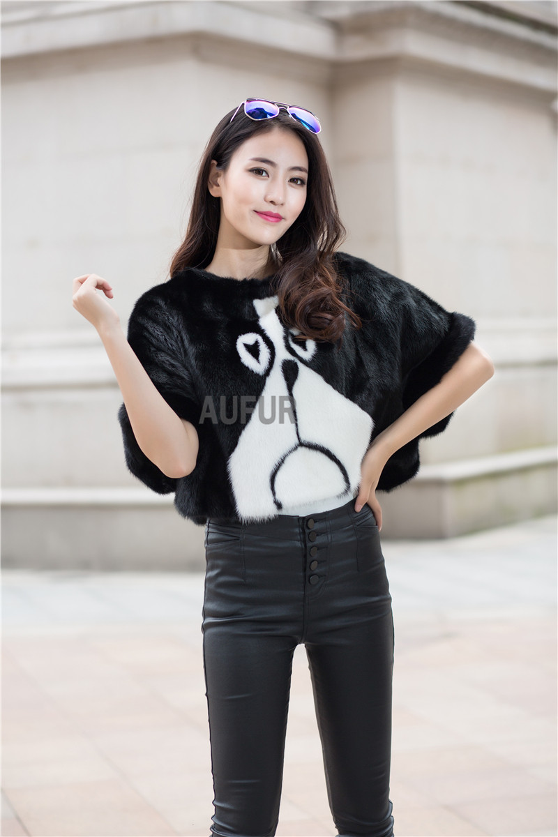 Winter Real Mink Fur Jackets Womens Pullover Black and White Natural Fur Coats Cartoon Dog Pattern Fashion Jacket AU00734Одежда и ак�е��уары<br><br><br>Aliexpress