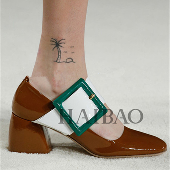 Brown Patent Leather And Green Buckle Mary Janes Women Pumps Fashion Square Toe Hoof Heels Mixed Color Pumps T-Show Shoes Woman