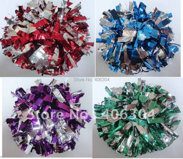 Free Shipping.Cheering Metallic pompom with baton handle in the middle, Cheerleading pompom products,150G ,Professional use