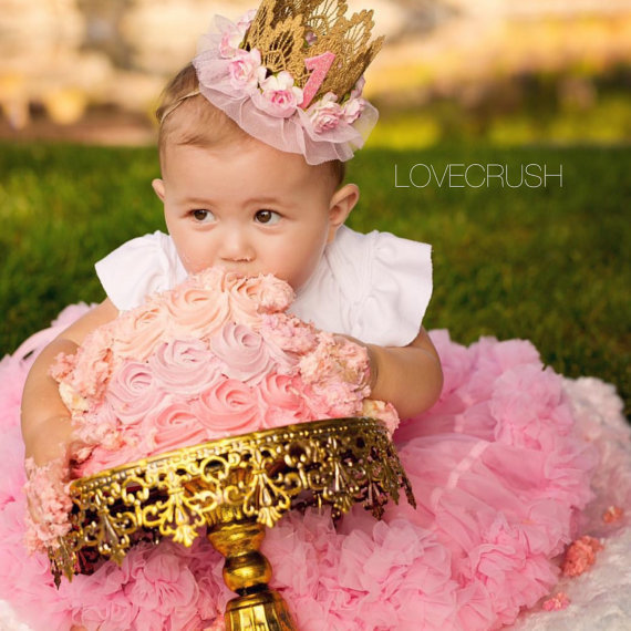 New Fashion Pale Pink Birthday Crown headband for baby Birthday party Baby Girl gold Crown headband for hair Accessories 1PC(China (Mainland))