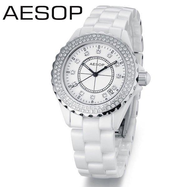 AESOP White Ceramic Women Dress Rhinestone CZ Diamond Watches Date Day Dual Display Quartz Wristwatches Water Resistant 9906